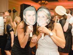 DIY face masks of bride and groom for dance floor