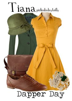 """Tiana"" by pickedadaytofly ❤ liked on Polyvore featuring FOSSIL, Look From London, ALDO, Topshop, Merona, dapper day, tiana, the princess and the frog and disney"