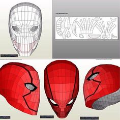 Red Hood Helmet Pepakura | Masks | Pinterest | Red Hood Helmet ...
