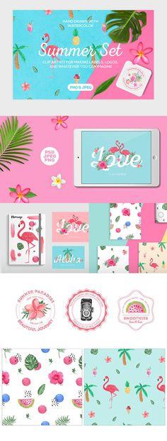 Tropical Summer Clip Art Set Illustrations