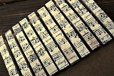 Sheet Music Clothes Pins Teacher Gift Party Decor Party Favors Gift Wrap. $8.00, via Etsy.
