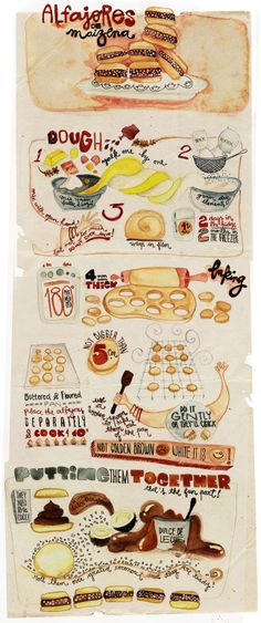 The classic Spanish / Latin American sandwich cookie, the alfajor! Two lemon zest- and rum-infused shortbread cookies with a dollop of vegan dulce de leche between them. Argentine Recipes, Argentina Food, Le Diner, Food Journal, Food Drawing, Food Illustrations, I Love Food, Food Hacks, Food Art