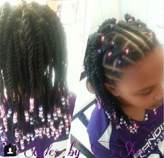 Cornrows, twists, and beads. Pretty!