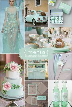 Paleta de Cores Menta | Inspiration Board Mint  mint wedding,mint,mint decor,mint cake,mint candles,mint dress,mint stationery,mint drink,mint car,casamento menta,decoração de casasamento menta,bolo menta,lembrancinha menta