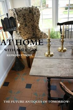 Antiquesweb Floorcloth, love the furnishings too...
