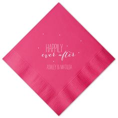 Custom Fuschia Cocktail Napkins with Matte White on ForYourParty.com