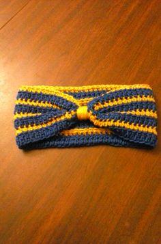 Winter Headband, Blue-Gold,Ear Warmer,Adult Headband,Womans Headband,Girls Headband,Handmade Headband,Crochet Headband,Winter Accessory - pinned by pin4etsy.com