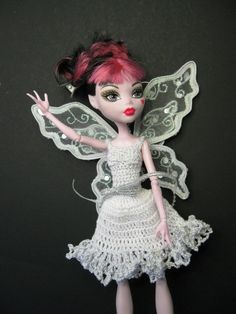 Monster High Angel white and silver metallic by ToneyTreasures,.00