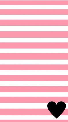 Pink white stripes black heart iphone wallpaper background phone lockscreen