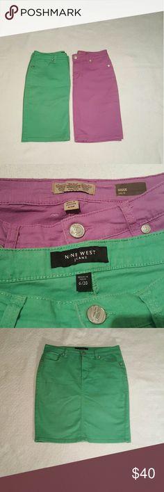 Pair of cute Nine West denim skirts Green and lavender denim skirts in similar styles. Both NWOT. Nine West Skirts Mini