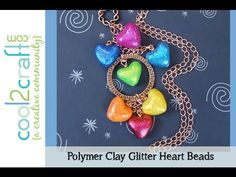How to Make Polymer Clay Glitter Heart Beads by Candace Jedrowicz DIY Craft