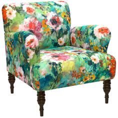 Add comfort and grace to your room with this elegant and sophisticated chair. The chair is crafted from solid pine, and covered in fashionable Juliet multi upholstery, the richly padded back and round