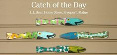 """Add cottage character with one - or a school - of these cheery Picket Fence Painted Fish. Made in the USA from reclaimed wooden picket fences, these 23"""" x 4"""" wall hangings are sure to make a splash. They're just one of the many unique items you'll find only at our Home Store in Freeport. Order direct from the store and we'll ship your purchase free. Call 1-877-755-2326, option #6. (39 dollars each)"""