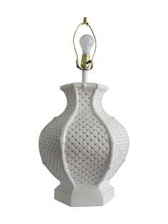 Bamboo Style White Ceramic Table Lamp on Chairish.com