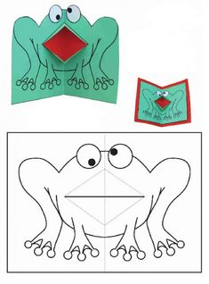 Craft ideas for children. Frog - made from paper and cardboard ...