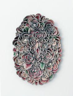 Ceramics : Secret garden // ceramic relief by Lidia Kostanek - Dear Art Porcelain Jewelry, Fine Porcelain, Porcelain Ceramics, Painted Porcelain, Porcelain Tiles, Ceramic Tools, Ceramic Art, Ceramic Decor, Ceramic Flowers