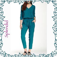 """Splendid long sleeve pant romper Teal cross over top with snap button. Pockets on each side of chest. Elastic waist.  56""""=length, 13 3/4""""=Waist. 18""""=underarm to underarm. Splendid Pants Jumpsuits & Rompers"""