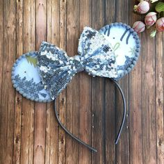 Your place to buy and sell all things handmade Gold Christmas Tree, Christmas Travel, Disney Mouse Ears, Mickey Mouse Birthday, Silver Sequin, Headbands, Winter Wonderland, Unique Jewelry, Reindeer