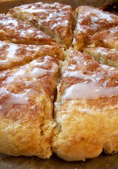 Glazed Cinnamon Scones -- these are the BEST! If you like scones, this is a MUST-TRY recipe! I added cinnamon chips to the batter, also. SO YUMMY ! Breakfast And Brunch, Breakfast Dishes, Breakfast Recipes, Dessert Recipes, Breakfast Scones, Breakfast Salad, Just Desserts, Delicious Desserts, Yummy Food