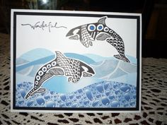 Zentangle Dolphins by Illinois Marge - Cards and Paper Crafts at Splitcoaststampers