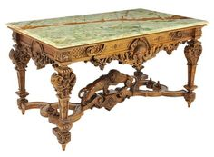 Louis XIV style walnut salon table with green onyx top, 20th century