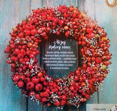 Podzimní věnec ze šípků Christmas Time, Xmas, Month Flowers, Fall Deco, Autumn Wreaths, Autumn Inspiration, Dried Flowers, Floral Wreath, Christmas Decorations