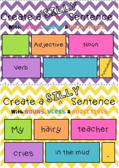 Silly sentence literacy centre and worksheets! Teach students all about writing detailed, interesting, structured and punctuated sentences with nouns, verbs and adjectives! Kindergarten, First, Second and Third Grade!