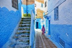 Photographs of blue Chefchaouen, Morocco