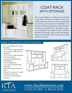 Creating custom storage and coat rack for your entryway or mud room using stock kitchen cabinets (step-by-step instructions).  There are three pages, so for the remaining pages head over to http://www.rtacabinetstore.com and click on design ideas under any of the rta cabinet lines.