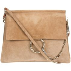 Pre-owned Chlo? Medium Suede Faye Bag ($1,395) ❤ liked on Polyvore featuring bags, handbags, shoulder bags, brown, brown hand bags, suede purse, suede shoulder bag, beige shoulder bag and preowned handbags