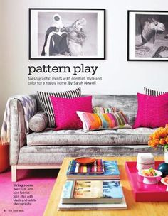 pattern play bold #pink fabric look very chic mixed with #gray