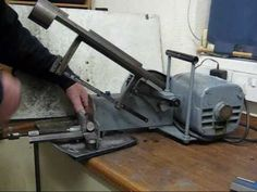 Home Built Compact Benchtop Power Hacksaw Cutting Steel