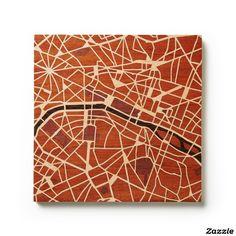 "Custom 8"" x 8"" Wood-Inlay Map Art of Paris, France"
