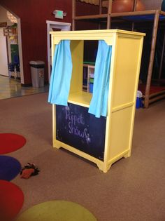Old entertainment cabinet to puppet show stage