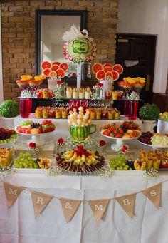 New fruit bar table bridal shower Ideas Fruit Tables, Fruit Buffet, Fruit Trays, Fruit Display Tables, Appetizer Table Display, Candy Buffet Tables, Buffet Ideas, Party Buffet, Fruit Party