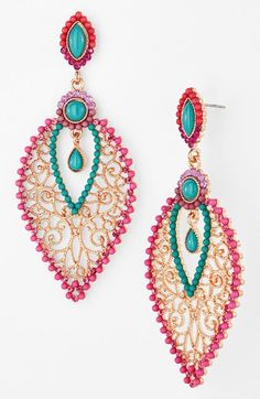 Gorgeous pink & turquoise chandelier earrings http://rstyle.me/n/jwjy5nyg6