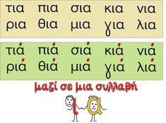 """Σήμερα ασχοληθήκαμε με τη φωνούλα """"ια"""" . Τη συνδυάσαμε με όλα τα γνωστά μας γράμματα και είπαμε πότε θα τη διαβάζουμε σε μια συλλαβή... Learn Greek, Greek Language, How To Stay Motivated, First Grade, Speech Therapy, Special Education, Grammar, Alphabet, Teacher"""