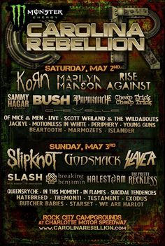 Korn returns to Carolina Rebellion to headline Saturday night with a performance of their self-titled debut album. More info and tickets at www.carolinarebellion.com.  #KornTour2015
