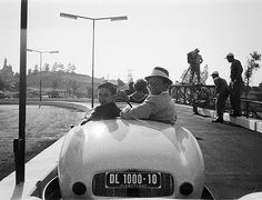 Frank Sinatra and son Frankie at Disneyland's grand opening, 1955.