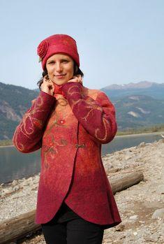 Autumn Glow - Felted Jacket - Merino Wool and Silk Tussah. $980.00, via Etsy.