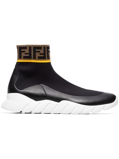 Fendi Logo hi-top stretch sock sneakers - Black Zumba, Athleisure, Sneakers Fashion, Shoes Sneakers, Black Sneakers, Shoes Heels, Leggings, Yoga, Shoe Collection