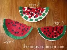 Watermelon Craft  We could use tissue paper, color it, cut paper, etc. For the seeds we could even use their finger tip stamped in ink...