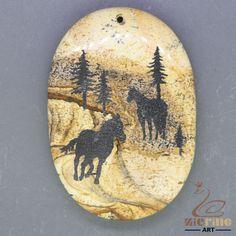 Unique Hand Painted Horse Pendant Natural Picture Jasper   ZL001204 #ZL #Pendant