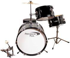 Percussion Plus Junior 3 Piece Drum Set   Black Finish