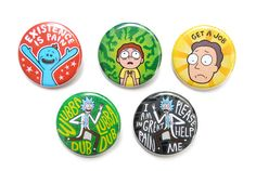 Set of 5, 1.25 inch pinback buttons featuring my original vector illustrations…