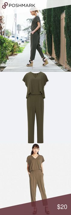 ⬇️Uniqlo Short Sleeve Jumpsuit size S olive green Brand new with tags in original packaging.   UNIQLO short sleeve jumpsuit for women. Gorgeous green color, beautiful style and very simple and elegant for year round wear. Dress it up for the evening or dress it down for a relaxing day.   Never worn. From a pet and smoke free home. Bundle for a special offer from me!  Color matches first two pictures best. Last pic is same jumpsuit (diff color) for reference as to how it looks from behind…