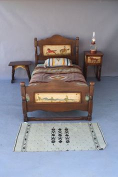 Hand-Painted-Monterey-Bedroom-Set-Bed-Nightstand-Mirror-Table-Mirror