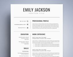 Professional Resume Template  Modern Cv Design Easy Instant