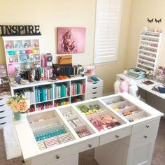 Where You Create-never let me out of Janelle Gomez' craft room Simple Stories Design Team member / Jomelle Gomez' Creative space / Scrap Box / Planner fun Craft Room Storage, Craft Rooms, Paper Storage, Craft Room Decor, Craft Desk, Bedroom Decor, Space Crafts, Home Crafts, Craft Space
