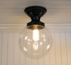 Front entryway?  Biddeford I. Large Clear SEMI FLUSH Ceiling Light. $99.00, via Etsy.